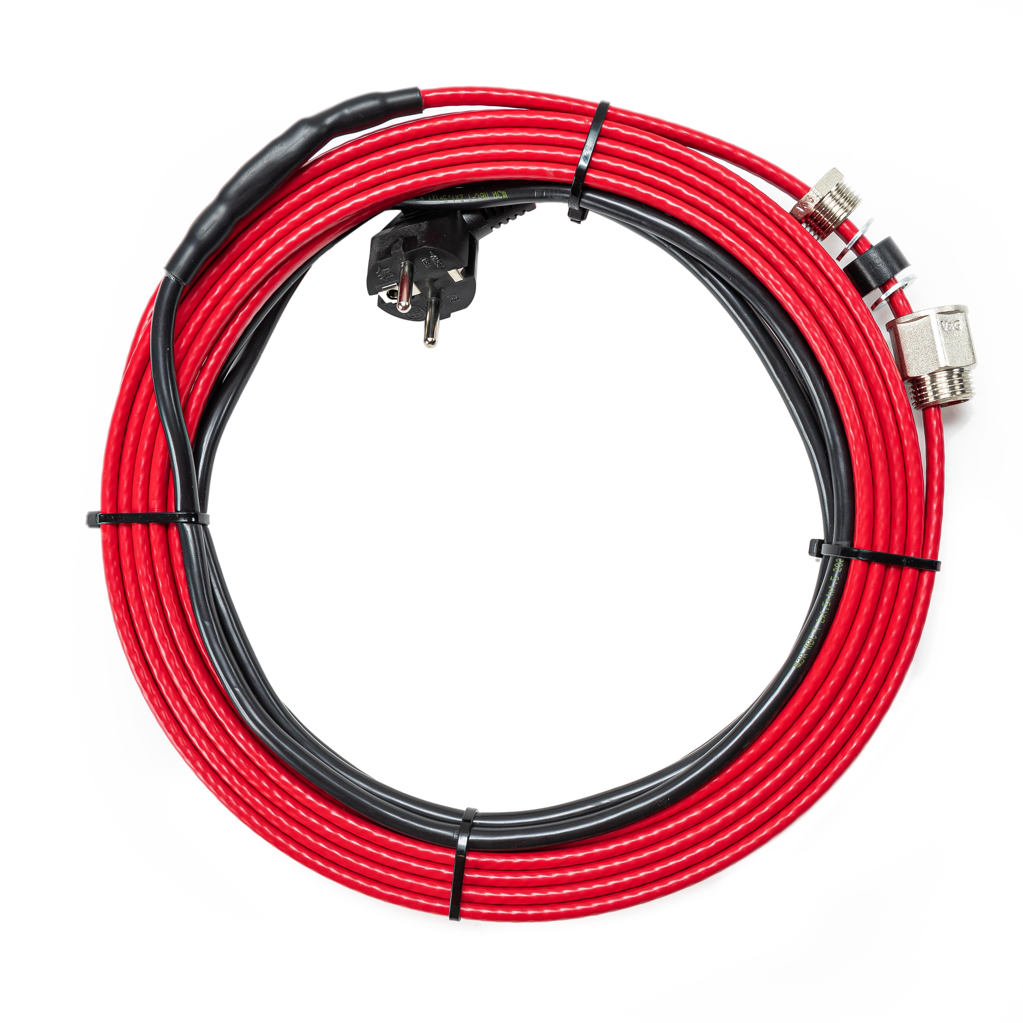 Греющий кабель саморегулирующийся в трубу 16 Вт/м, 128 Вт, готовый комплект, 8 метров
